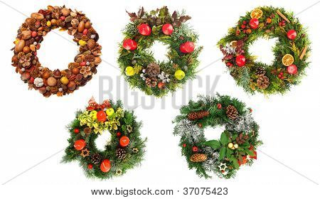 Set of beautiful christmas wreaths isolated on white background