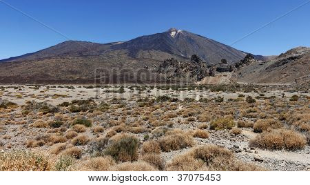 Panoramic image of the conical volcano Mount Teide or El Teide in Tenerife and its surrounding plateau. It has featured as the location of many hollywood films