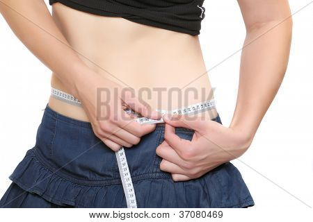 Slim woman with measure tape.
