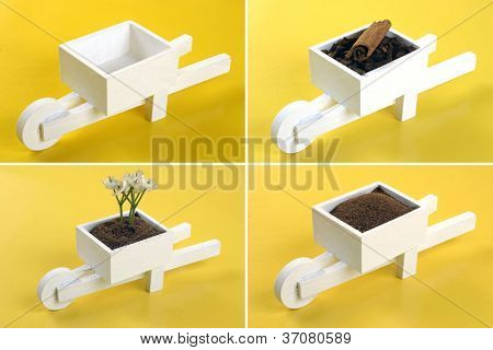 A mini pushcart set on yellow background