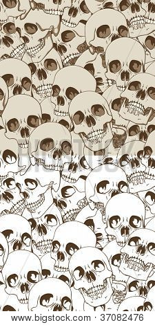 Set of Two Seamless Patterns. Human Skulls Background. Rasterized Version