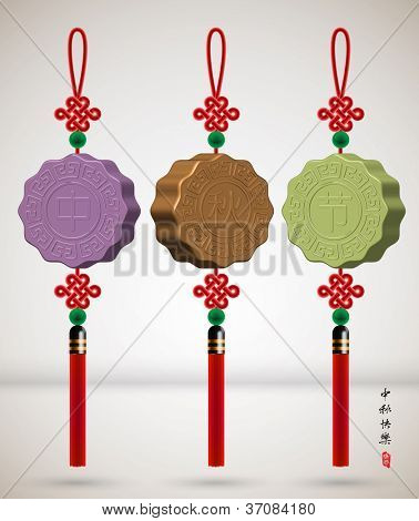 Mid Autumn Festival - Mooncake Jade Plate with Ru Yi Stitch Translation: Happy Mid Autumn Festival