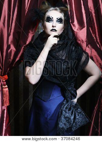 Dark Beautiful Gothic Princess.Halloween party.