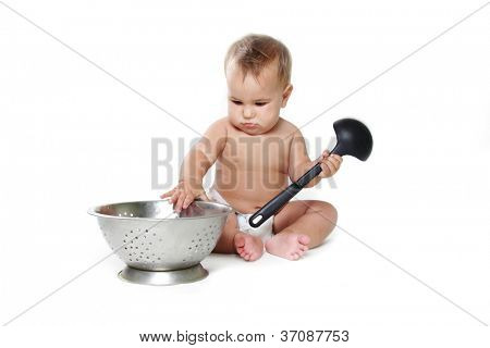 cooking child baby isolated over white