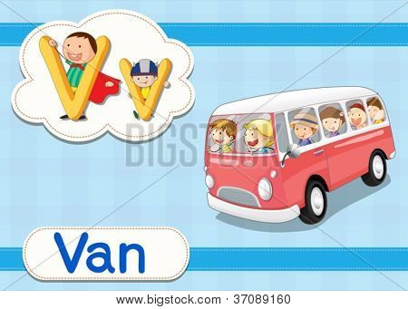 Illustrated vocabulary worksheet card with cartoon