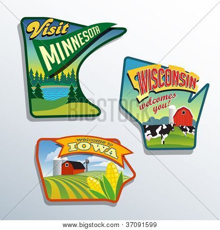 Midwest USA Minnesota Wisconsin Iowa Vektor Illustrationen Entwürfe