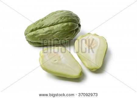 Whole and partial chayote  on white background