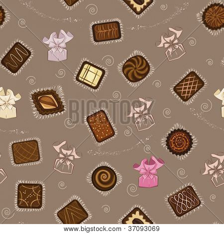 Background with chocolate candies in paper wrapping