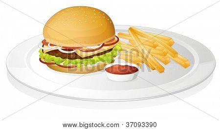 illustration of burger, french fries and sauce on a white background