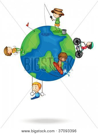 illustration of a kids on earth planet on a white background