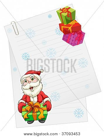 illustration of a santaclause with gift box