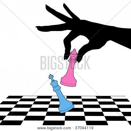 Female hand silhouette defeats king in battle of sexes chess game