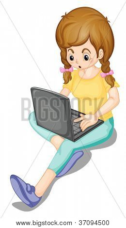 illustration of a girl and laptop on a white background