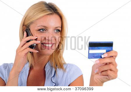 Isolated Young Business Woman Holding Credit Card
