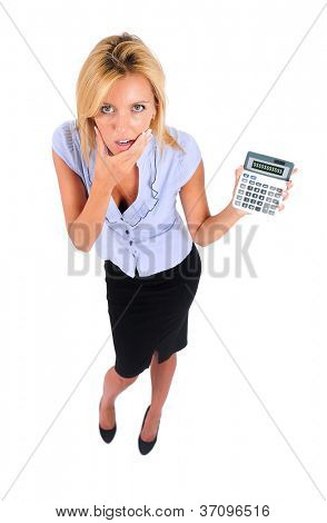 Isolated Young Business Woman With Calculator