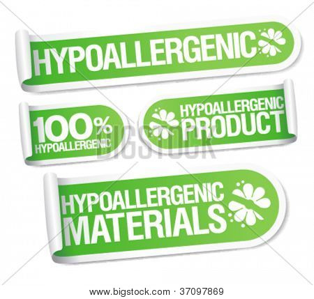 Hypoallergenic products stickers set.