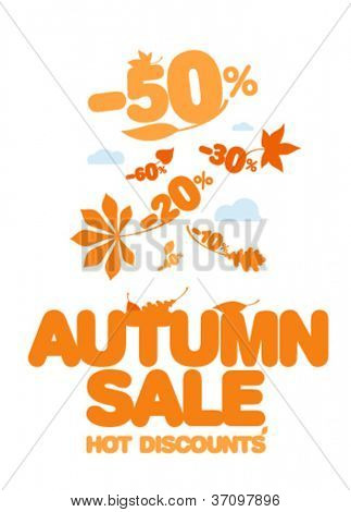 Autumn sale design template. Hot discounts.