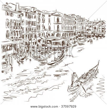 Venice - Grand Canal. The view from the Rialto Bridge. Vector sketch