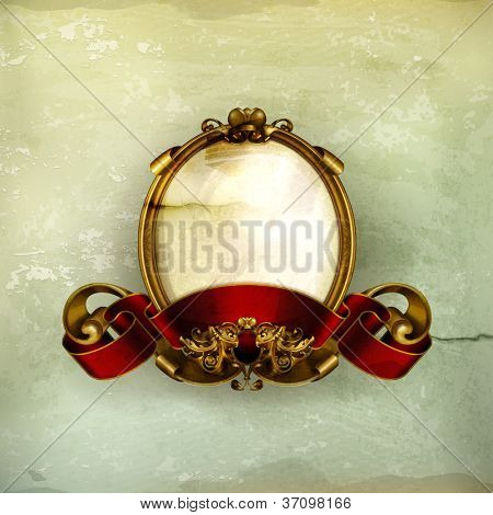 Vintage frame white, old-style vector