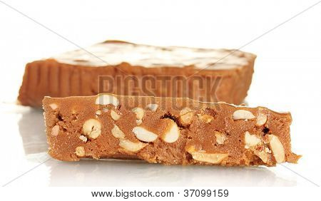 Cut east sweets - sherbet with nuts on white background