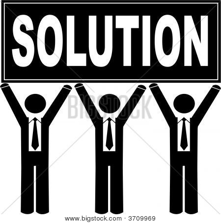 Stick Men Business Holding Sign Saying Solution.