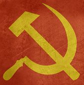 foto of hammer sickle  - Grunge Russian or Communist hammer and sickle sign or flag - JPG