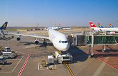JOHANNESBURG - APRIL 18:Airbus A340 disembarking passengers after intercontinental flights on April