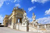 stock photo of schoenbrunn  - The Gloriette in the Schloss Schoenbrunn Palace Garden - JPG