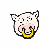 image of nose ring  - cartoon pig with ring in nose - JPG