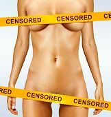 stock photo of arousal  - beautiful body of woman covered with censorship tapes - JPG