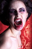 Portrait of a bloodthirsty female vampire. poster
