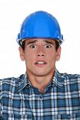 Worried construction worker