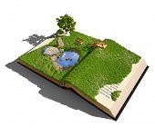 open book with grass and tree. illustrated concept