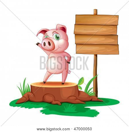 Illustration of a pig standing beside an empty wooden signboard on a white background