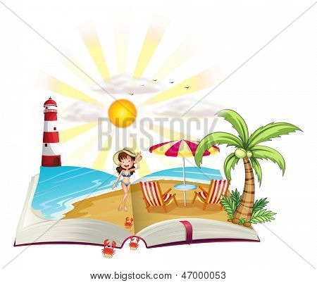 Illustration of a book with an image of a beach on a white background