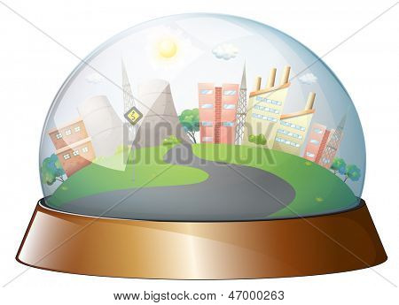 Illustration of a dome designed city on a white background