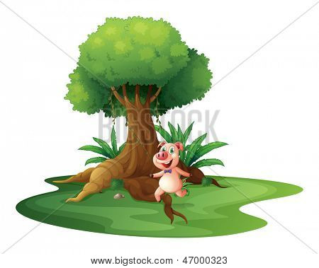 Illustration of a pig standing under the big tree on a white background