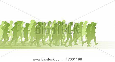 Pessoas em movimento verde