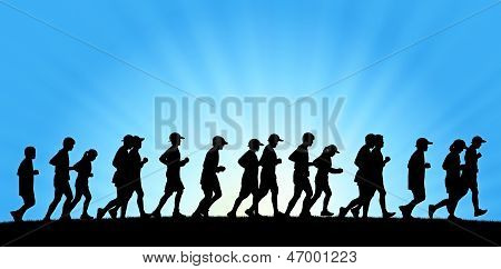Big Group Of People Running On Blue Sky Background