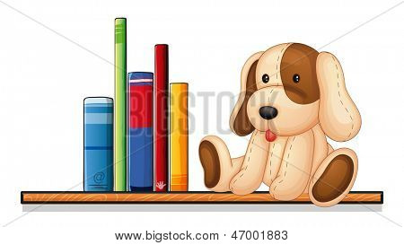 Illustration of a shelf with books and a toy on a white background