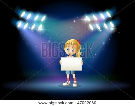 Illustration of a stage with a young girl holding an empty signage