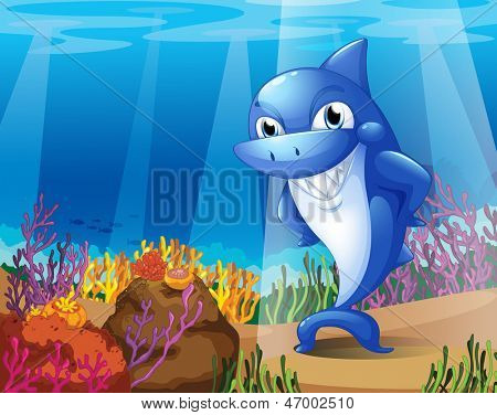 Illustration of a scary blue shark under the sea
