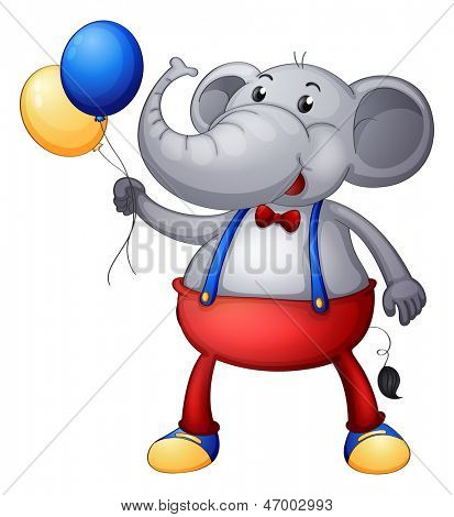 Illustration of an elephant with balloons on a white background