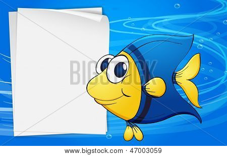 Illustration of a fish beside an empty bondpaper under the sea