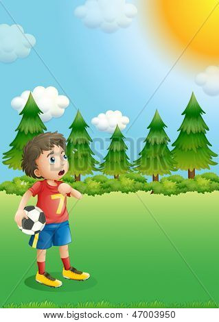 Illustration of a young football player at the hill