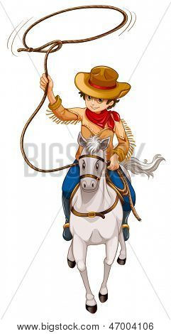 Illustration of a boy riding a horse with a hat and a rope on a white background