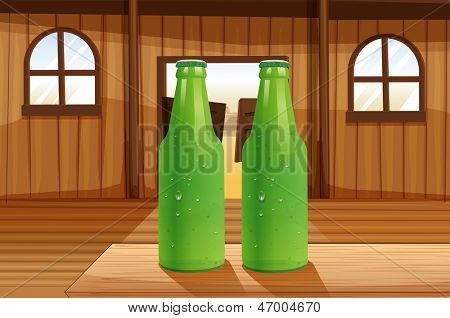 Illustration of the two green bottles above the table