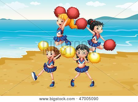 Illustration of a cheering squad performing at the beach