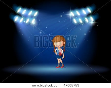 Illustration of a young girl with a long hair at the stage