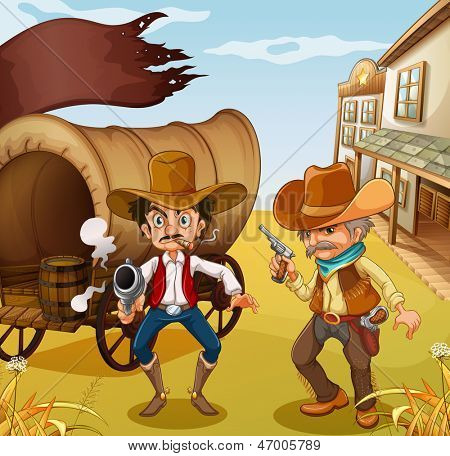 Illustration of the two men holding guns with a wooden carriage at the back